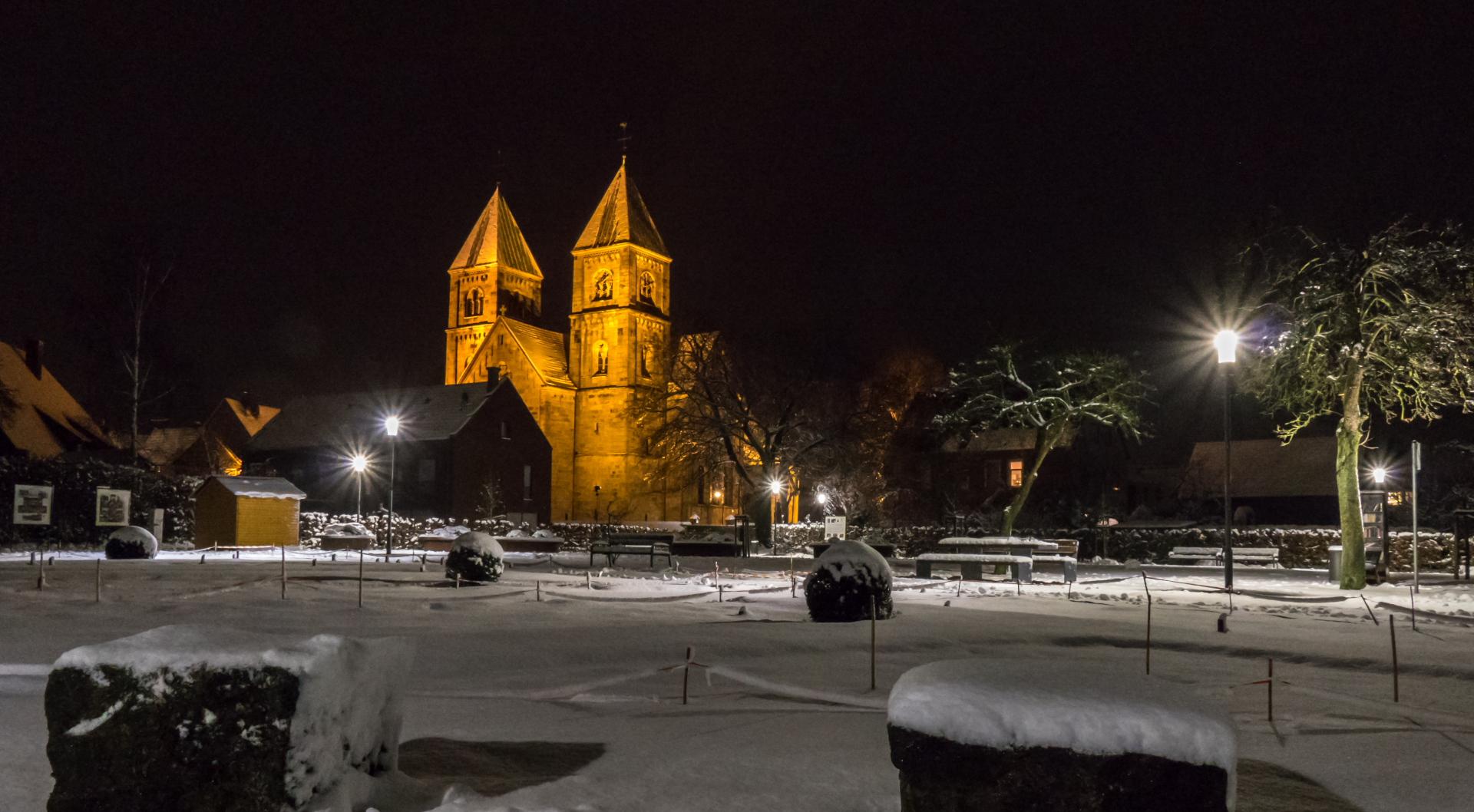 Dahliengarten abends, im Schnee