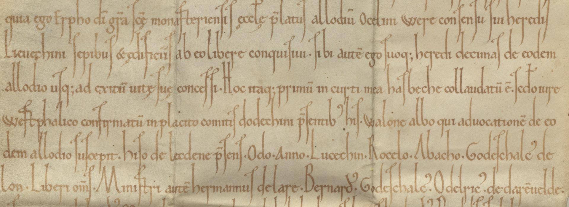 Ausschnitt der Urkunde aus 1092